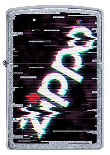 ZIPPO – Zippo Logo, Street Chrome – Benzin Sturm-Feuerzeug, nachfüllbar, in hochwerti-ger Geschenkbox, Silber 1544 Silver Orange, Normal, 60005357