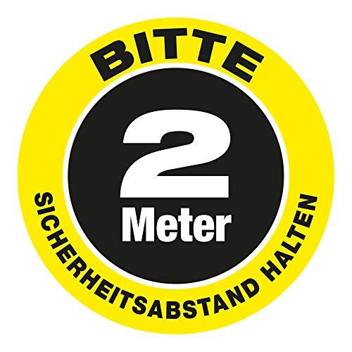 VITAdisplays Señal de advertencia para pared, adhesivo para suelo como punto de espera 'Bitte 2.0 metros Sicherheits-Abstand halten' (30 x 30 cm)