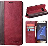 Coque Galaxy S7, Lensun Housse Étui Cuir Portefeuille avec Horizontale Support pour Samsung Galaxy S7 5.1' - Vin Rouge (S7-FG-WR)