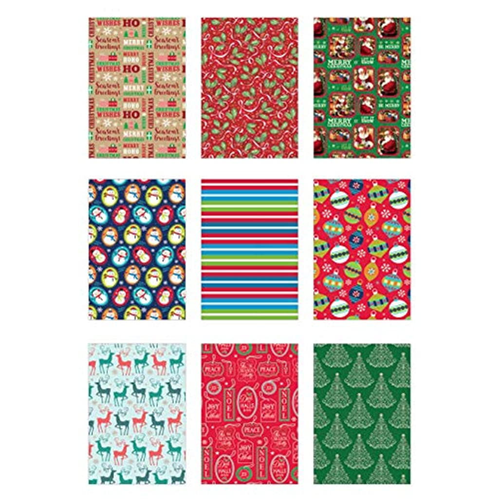 Bundle of 9 Rolls of Christmas Gift Wrapping Paper - 419 Total Sq Ft of Xmas Wrap