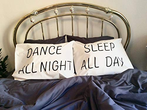 prz0vprz0V Pack of 2Lumber Pillow Cover 12x 20Inch Couple Pillo wcases Dance All Night Sleep All Day Valentines Gifts For Her Him Girlfriend Gift Wife Gift Couples Giftset Compromiso Gifts