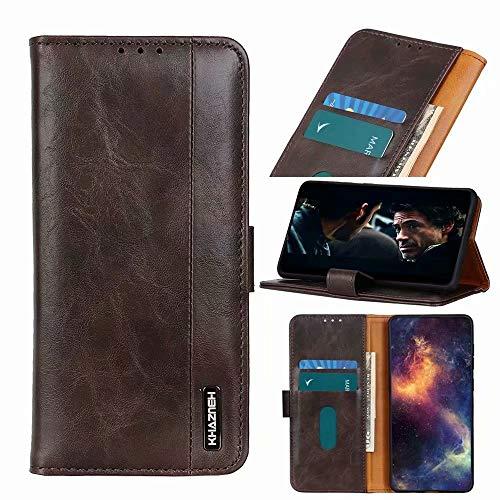 Für Xiaomi Mi 11 Hülle 3D Stoßfest Flip Leder Book Wallet Handyhülle mit Kartenhalter Slots Magnetverschluss TPU Bumper TPU Slim Fit Schutzhülle für Xiaomi Mi 11 Braun