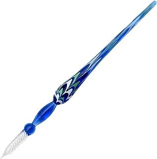 Gullor Glass Dipペン署名ペンヴィンテージ手作りガラスクリスタルDip Signペンギフトペン ブルー