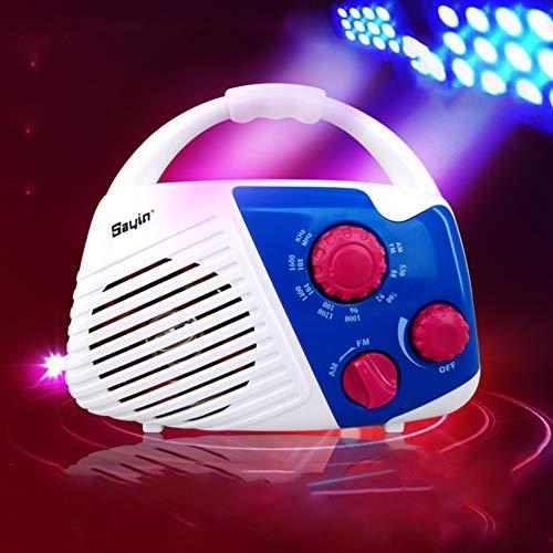 Relaxer - Altavoz de ducha con radio AM FM, portátil, impermeable, con manija de radio para ducha, mini altavoces inalámbricos para el baño, el hogar, al aire libre, 18 x 14 x 8 cm