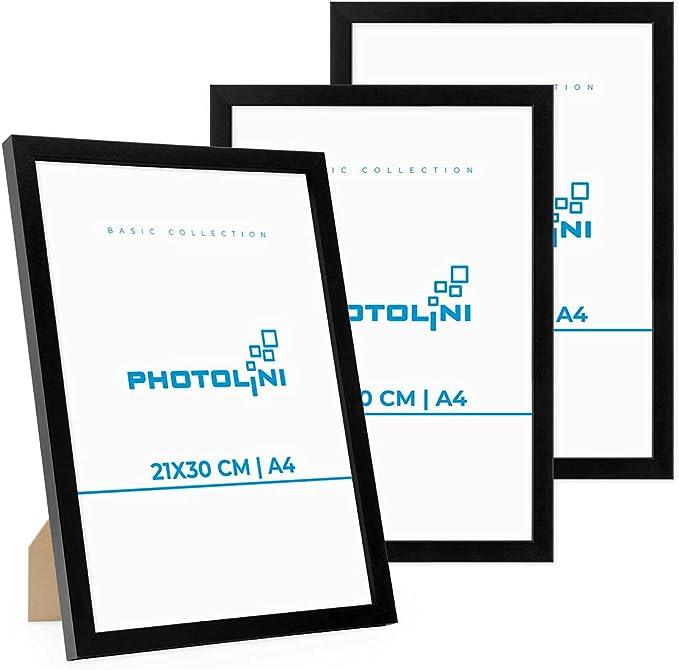5449 opinioni per Photolini Set di 3 cornici per Foto da 21x30 cm/DIN A4 Modern Nero in MDF con