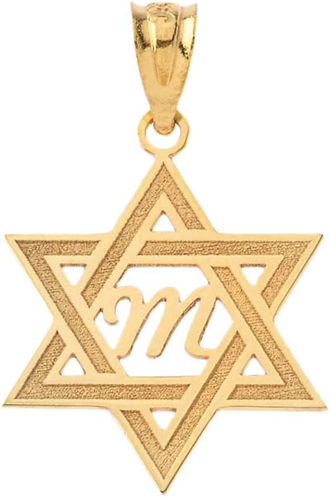 Certified 10k Yellow Gold Judaica Charm Jewish Star of David Pendant Custom Engraved with Any Initial Name