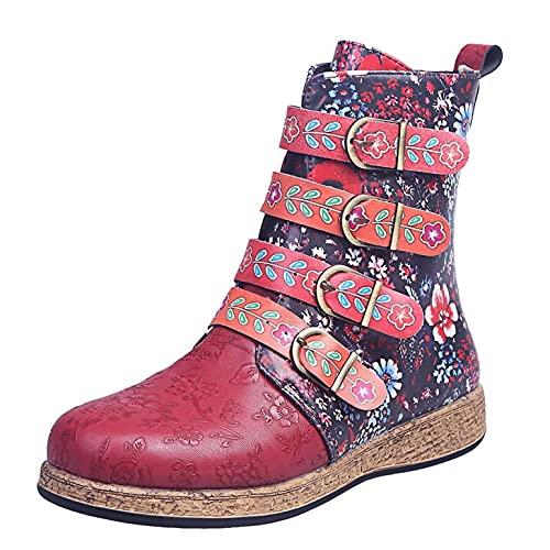 JDGY Botines de piel para mujer, botines cortos, botines de tobillo con cremallera, estilo étnico, cálidos, de invierno, antideslizantes, para moteros, rojo, 37