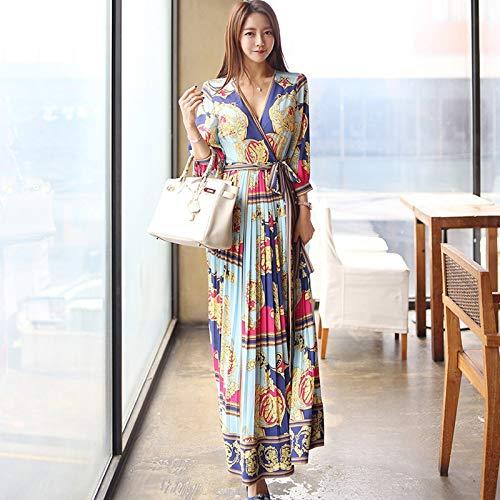 QUNLIANYI Abendkleid Abiballkleid Elegante Kreuz V-Ausschnitt Schärpen langes Kleid Frauen Urlaub...