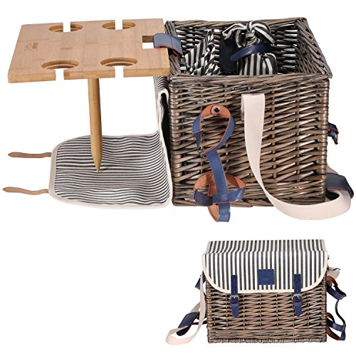 Best Price! VAULTSAC Picnic Basket Set - Removable Bamboo Table - Cotton Canvas Top Cover [4 Person ...