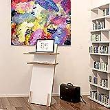 Tojo Pult | Stehpult höhenverstellbar | Auch als Sitzpult geeignet | 120 cm x 50 cm (H x B) | Farbe Weiß | Schreibpult mit verstellbaren Fächern | Holzpult zu Lesen und Schreiben | Design Pult - 2