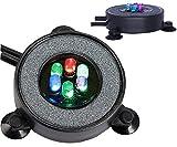 MingDak LED Aquarium Air Bubble Light Fish Tank Air Bubble Stone Disk Round with 6 LED Light for Fish Tank Aquarium