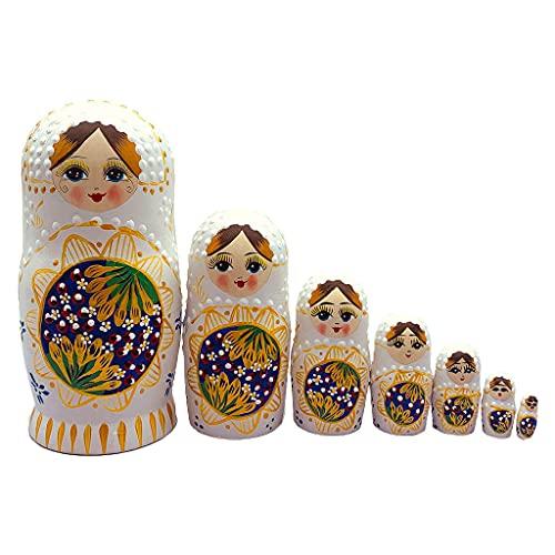 Amagogo Matryoshka Nesting Dolls, muñecas de Madera de Tilo, Juguetes apilables, Regalo de año Nuevo, Juego de 7 para Accesorios de Fiesta, Regalos de