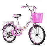 SYCHONG Vélo Pliant, Variable De Vitesse pour Les Enfants, Fille Poussette avec Siège Réglable, 11-17 Vélo Vieilli Étudiant Vélo, Léger,1pink,24inches