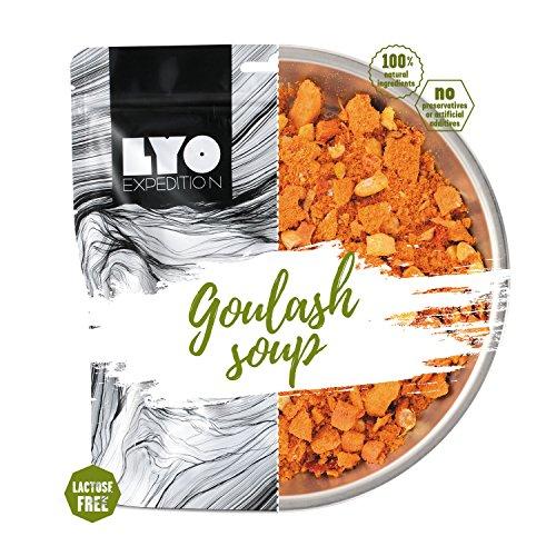 LYOFOOD, zuppa di gulasch, cibo liofilizzato privo di lattosio, adatto per il campeggio, le escursioni, in caso di emergenza, o per l'esercito, a lunga conservazione