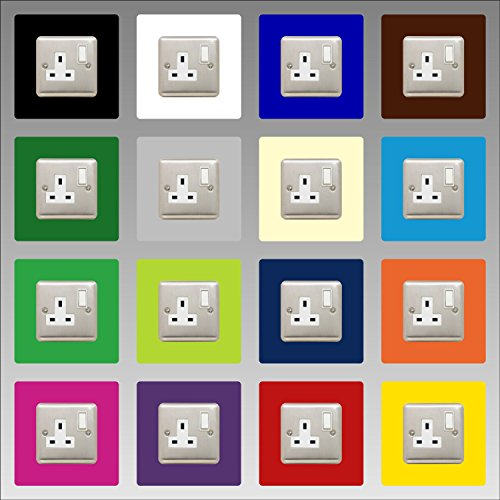 Einzelsteckdose Surround, quadratisch, Acrylrückwand oder Fingerplatte, Lichtschalter, Schriftfarbe: Dunkelgrau