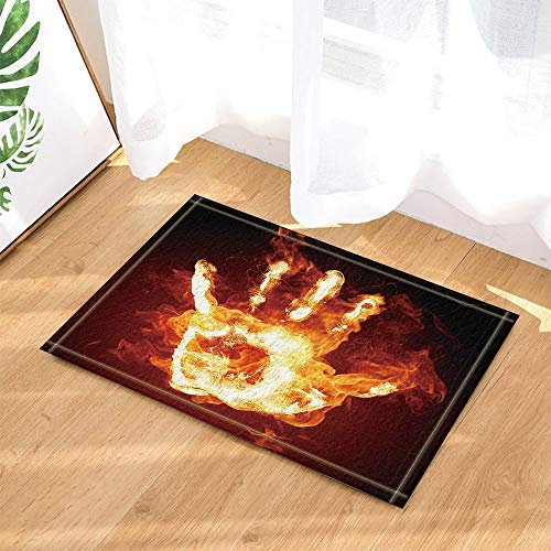 SRJ2018 Abstrakt Dekor Flamme Palm Gegen Schwarzer Hintergrund Bad Teppiche Rutschfeste Fußmatte Innenmatte 60X40 cm