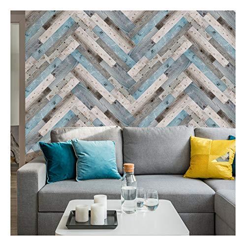 KUNHAN Tegel sticker Simulatie houten vloer tegel muur stickers slaapkamer woonkamer verwijderbare decoratieve waterdichte muur stickers