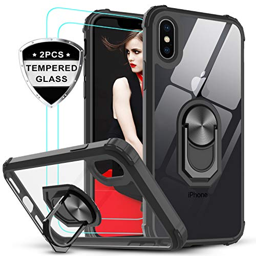 LeYi für iPhone X/iPhone XS Hülle mit Panzerglas Schutzfolie(2 Stück), Ringhalter Schutzhülle Crystal Clear Acryl Cover Bumper Handy Hüllen für Case Apple iPhone XS/iPhone X Handyhülle Schwarz