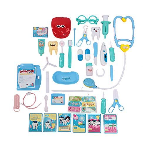 Tnfeeon Juegos de simulación portátiles Accesorios para Dentistas, Juego de Juguetes de Maletas de Dentistas Equipo de Mochila Juguete Educativo para niños
