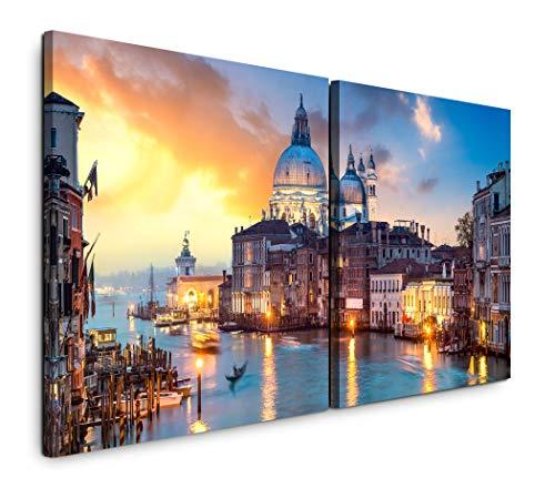 Paul Sinus Art GmbH Venedig Panorama 120x60cm - 2 Wandbilder je 60x60cm Kunstdruck modern Wandbilder XXL Wanddekoration Design Wand Bild