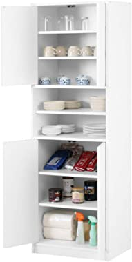 食器棚 扉付き 8段 幅60 キッチン 収納棚 レンジラック スリム 高さ180cm ホワイト