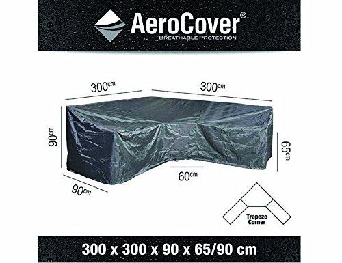 AeroCover Ademende en waterdichte beschermhoes in antraciet voor loungemeubels, in praktische draagtas, trapeziumvorm, 300 x 300 x 90 x H90, 7957