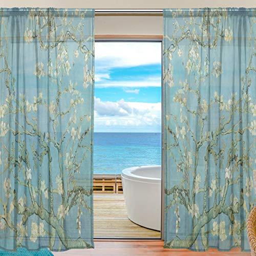 Mnsruu Van Gogh - Cortina de tul con pintura larga y transparente para el hogar, sala de estar, dormitorio, ventana