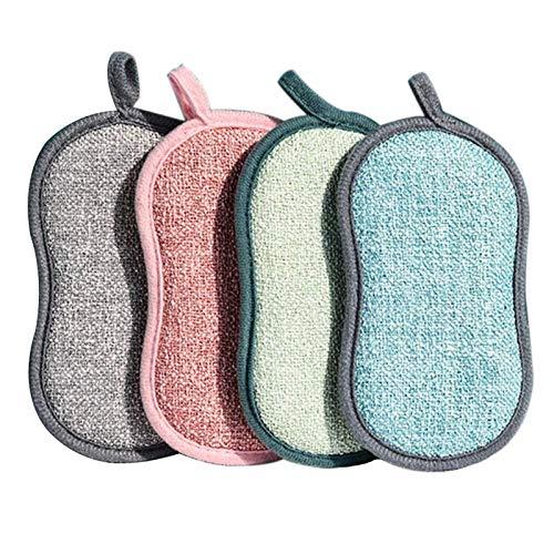 YuuHeeER Almohadillas para fregar cocina Anticleaning para sartenes, esponjas de doble cara de microfibra, 4 unidades