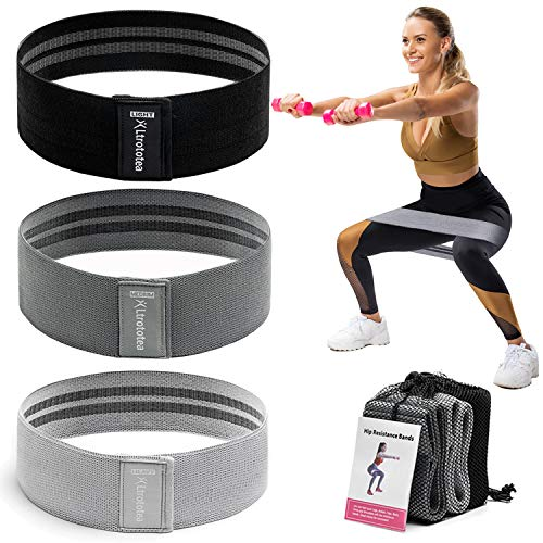 Ltrototea Resistance Bands for Legs and Butt,Workout Exercise Fitness Booty Bands for Women Men,Anti Slip Sports Glute Hip Bands Elastic(Set 3) (Black,Grey,Light-Grey)