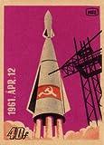 Poster Vintage-Stil Sowjetunion Propaganda Raumfahrt,