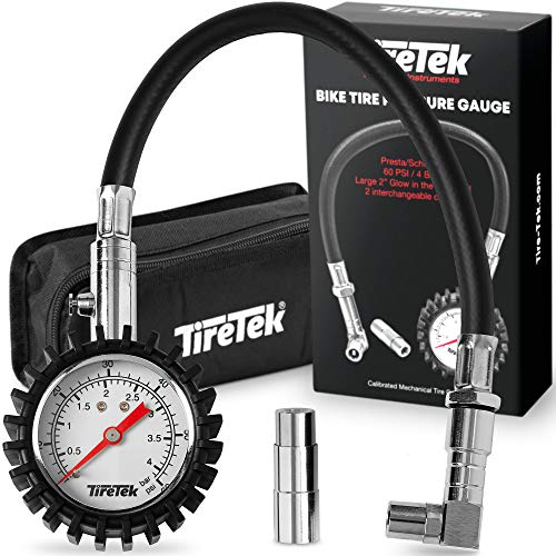 TireTek Mountain Bike Presta Tire Pressure Gauge, 60 PSI w/ Interchangeable Presta Valve & Schrader Valve Air, Easy to Read Glow Dial Bike Tire Gauge w/ Storage Pouch for Any Mountain Bike Accessories