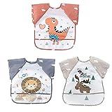 GudGmtoy - Baberos para bebés con mangas cortas, delantal para bebés, baberos de alimentación impermeables con babero de destete de bolsillo para bebés que juegan de 6 meses a 2 años, 3 unidades