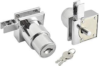Showcase Lock, roestvrij staal zonder boor glazen deurslot, vitrinekast dubbele deurslot met sleutel voor glazen deur