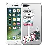 Caler Coque iPhone 8 Plus / 7 Plus, Transparente Silicone Souple TPU Anti-Rayures Anti-Choc Protection Ancre Rose Panda Motif Coque Etui Housse pour iPhone 7 Plus / 8 Plus 5.5' (Voyage)