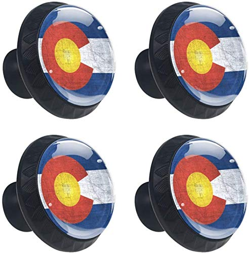 Colorado Flagge US-Bundesstaat 4 PCS Schubladenknopf,Moebelknauf, Schubladengriffe, Kommodenknöpfe Schubladenknöpfe Set, Möbelgriff, modern, Knauf für Schrank Schublade Küche