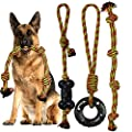 Yipetor Heavy Duty Dog Rope Toys for Medium Aggressive Chewers- 3 Pack, Power Durable Rubber, Indestructible Cotton Tough Long Rope Chew Toys for Medium Breed Dogs Tug of War