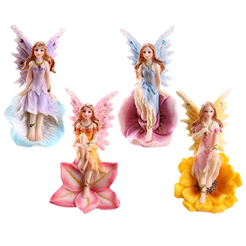 Set of 4 Flower Fairies Garden or Home Ornament Enchanted Fairy Figures