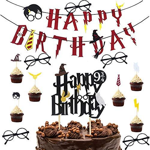 WENTS Geburtstag Dekoration Party Supplies 13 Stück Harry Potter inspiriert Cake Topper Banner Brille Zauberer für Happy Birthday Party Dekorationen Supplies