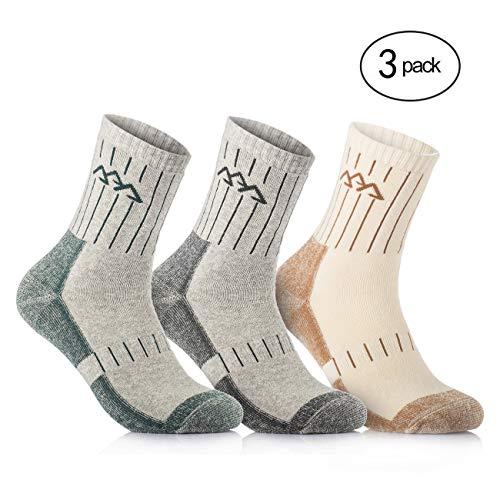 Overmont 3 pares de calcetines de algodón para hombre adulto (41/46) secado rápido para camping escalada acampada senderismo caminar atletismo excursiones y deportes al aire libre Caqui/Verde/Gris