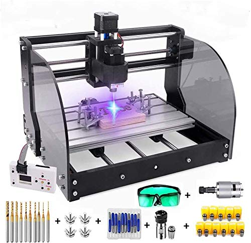 2 in 1 5500mW Engraver CNC 3018 Pro-M Engraving Machine, GRBLControl PCB PVC Wood Router CNC 3 Axis Milling Machine with Offline Controller and ER11 and 5mm Extension Rod