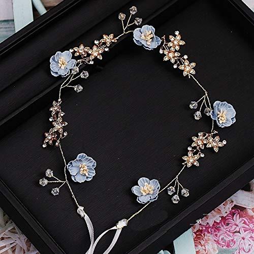 TSP Encantadora flor azul rosa hecha a mano hilo joyería flexible suave...