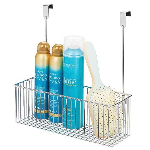 mDesign Estante colgante para utensilios de baño – Prácticas repisas para baño de metal para guardar champú, gel, etc. – Cesta colgante para armarios fácil de montar – plateado
