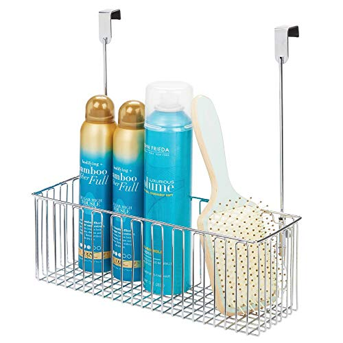 mDesign Metal Over Cabinet Bathroom Storage Organizer Holder or Basket - Hang Over Cabinet Doors - Holds Shampoo, Conditioner, Body Wash - Strong Steel Wire - Chrome