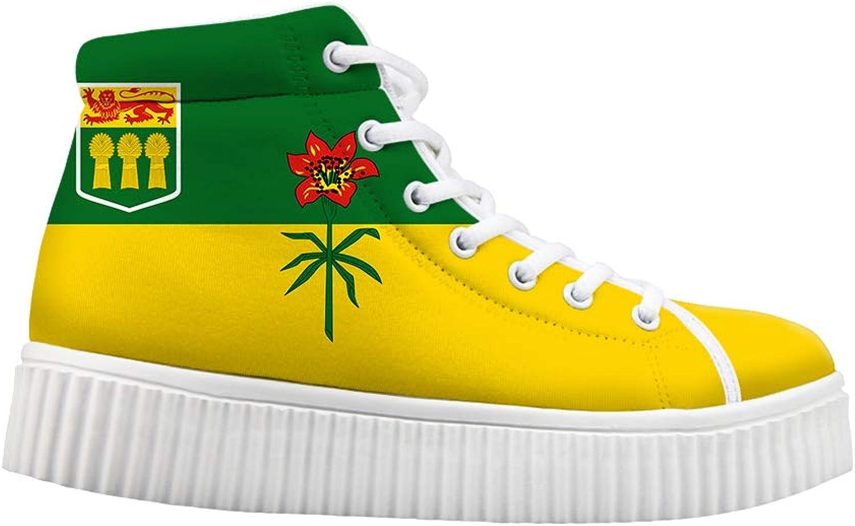 Owaheson Platform Lace up Sneaker Casual Chunky Walking shoes Women Saskatchewan Flag