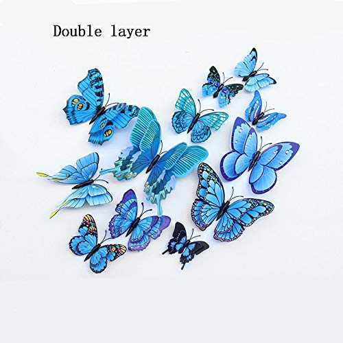 12pcs/lot 3D Magnet Butterfly Double Layers PVC DIY Kids Room Wedding Party Bedroom Home Decoration TV Kitchen Fridge Art Wall Sticker Craft