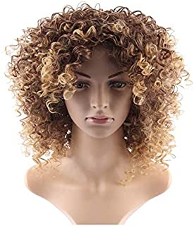 Yellow small volume synthetic wig