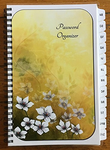 Large Print Password Book Internet Address Book A-Z Tabs White Flowers Personalized Gifts