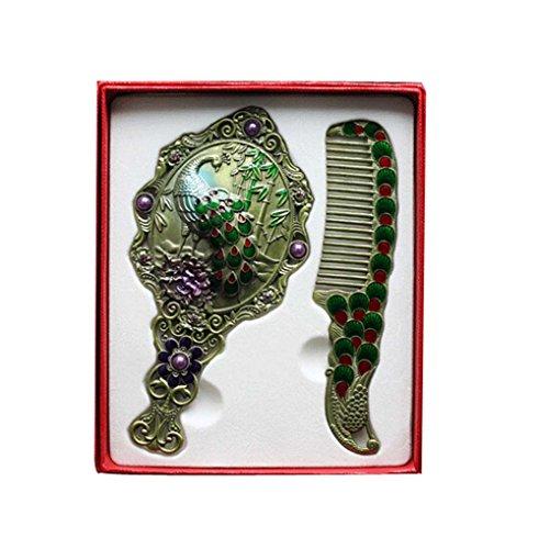 Exquise Retro Miroir cosmétique Portable et Peigne, Noble Vert