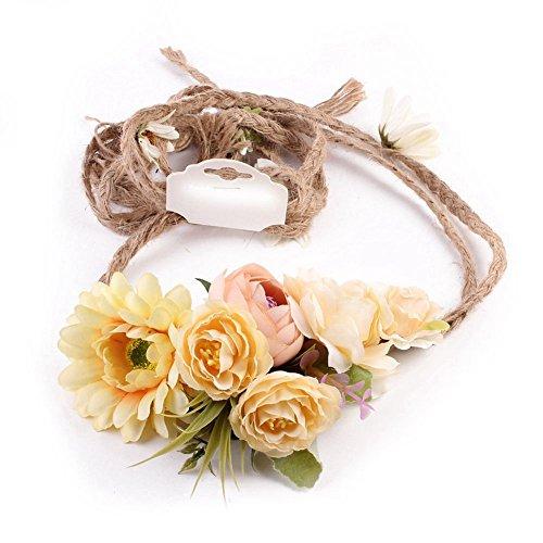 Ssowun Couronne de Fleurs Mariage,Fletion Bohemia Couronne de Fleurs Plage Garland Bandeau pour Mariage Festival Plage Voyager