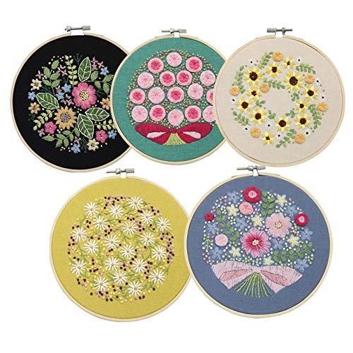 NO LOGO HHTC DIY Facile Broderie de Fleurs Kit avec Bamboo Hoop for débutants Croix Needlework Floral Art Peinture Murale Point Accueil Décor Cadeau (Couleur : 19, Taille : 15CM Bamboo Hoop kit)